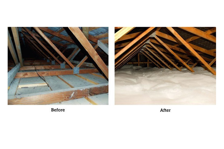 Roof insulation before and after Enviroblanket installation.