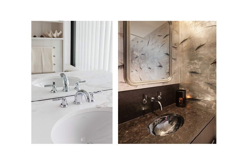 Perrin & Rowe Contemporary bench mounted or wall mounted basin taps in chrome