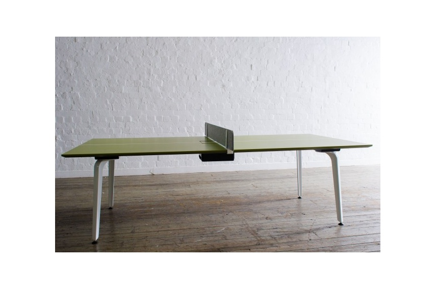 A MOMENT boardroom table that has been transformed into a table tennis table