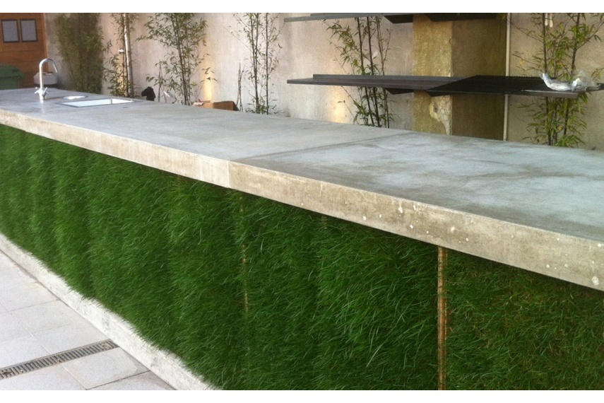 An outdoor bartop by Terazzo + Stoneworks