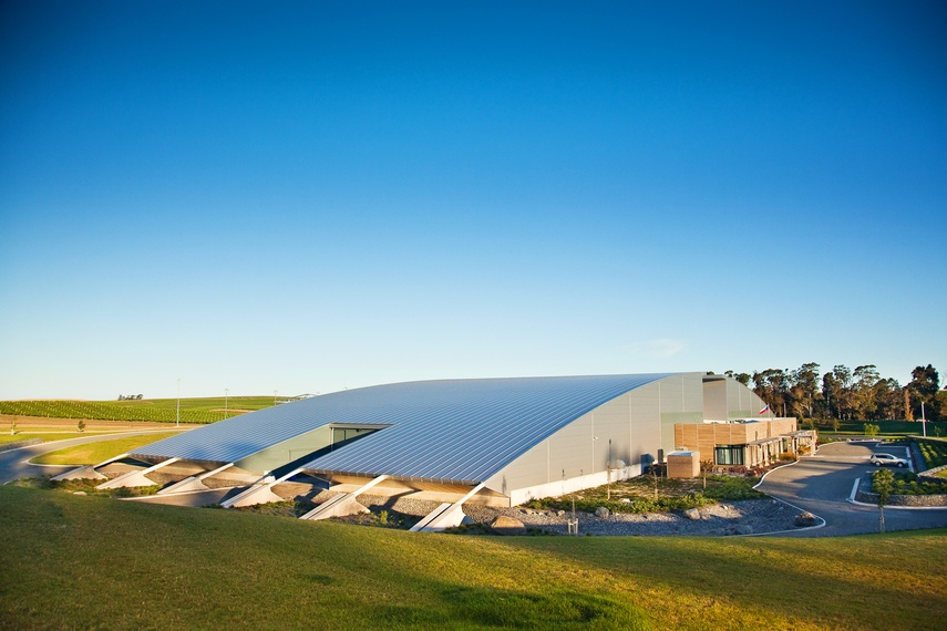 Yealands Winery, Blenheim, using Kingspan's curved roof panel.  Kingspan insulated roof panels provide building envelope solutions combining aesthetics, longevity and thermal insulation.