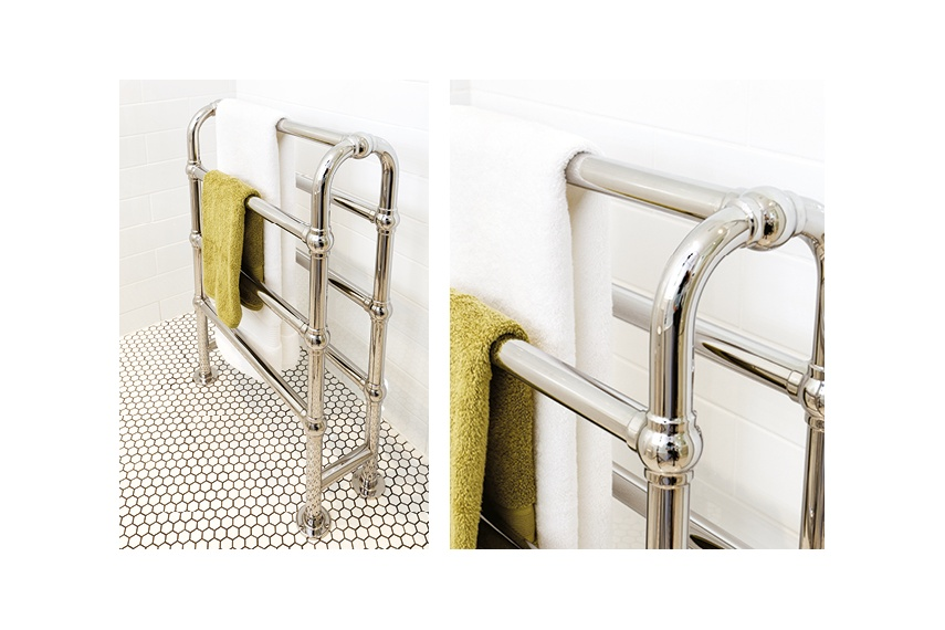 Hawthorn Hill iconic arched towel warmer is available electrically or hydronically heated