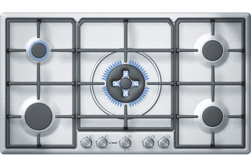 Stainless Steel 90cm gas cooktop.