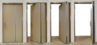 New double action reduced swing doors
