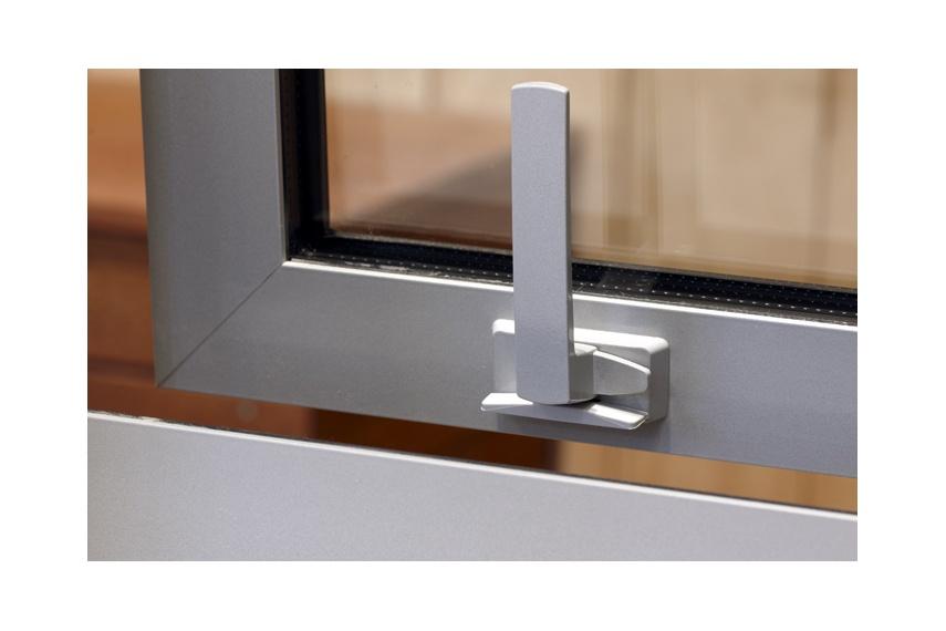 Malta® low-profile window fastener in satin chrome finish