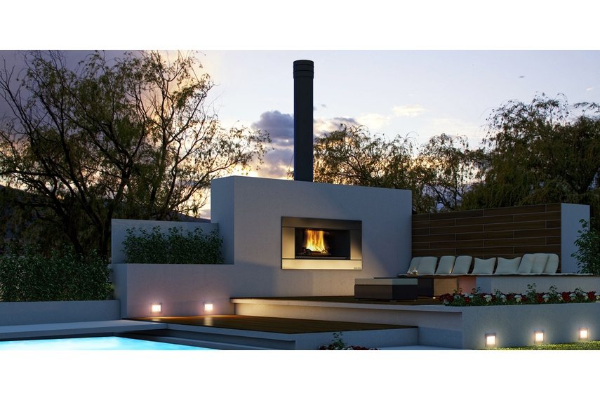 Escea EW5000 outdoor cooking fireplace (Stainless Steel Ferro fascia).