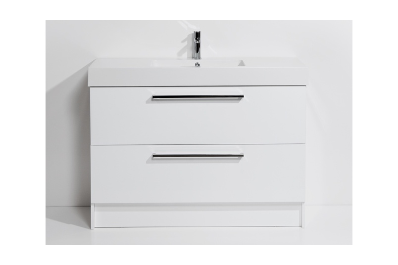 Drawer floor unit 1200mm – 2 drawer, single bowl, polymarble top, soft close drawers