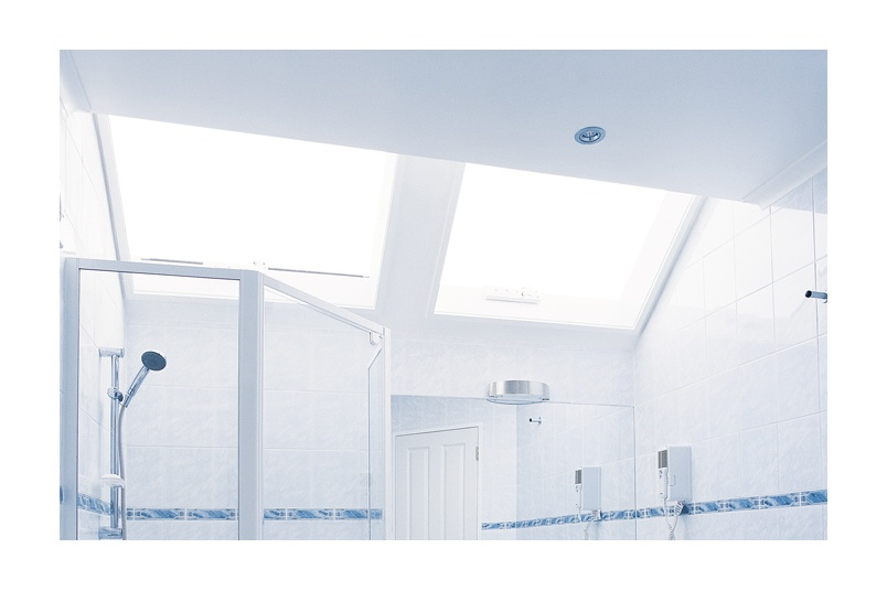 Consider roof lights in a bathroom when there are no walls available