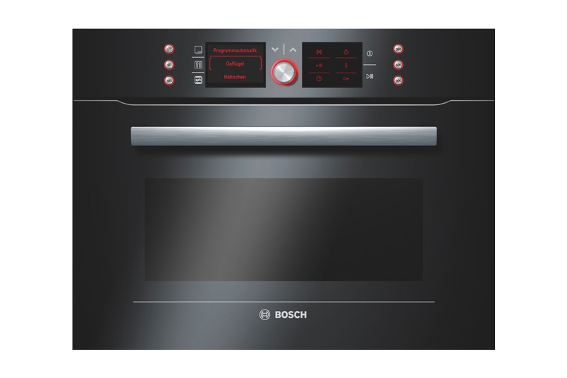 Black 60cm built-in combination microwave.