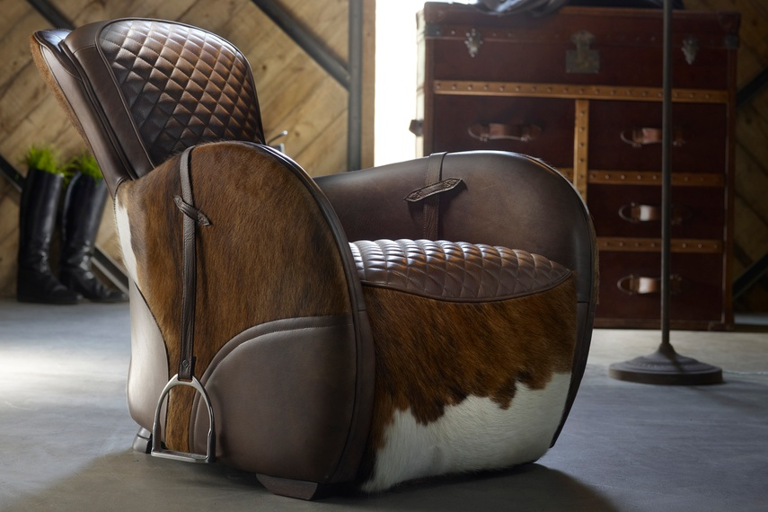 Made with meticulous craftsmanship and materials inspired by a traditional horse saddle, this piece is spectacular to behold.