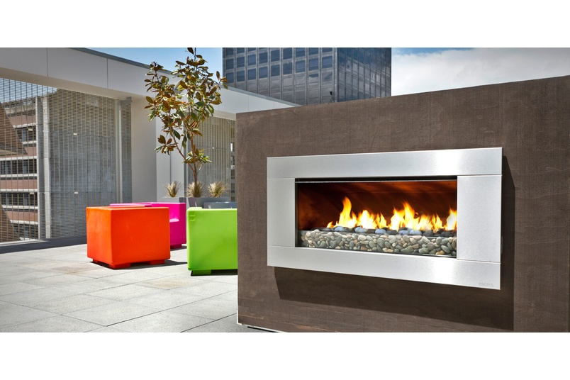 Escea EF5000 gas fireplace on the roof top of a skyscraper.