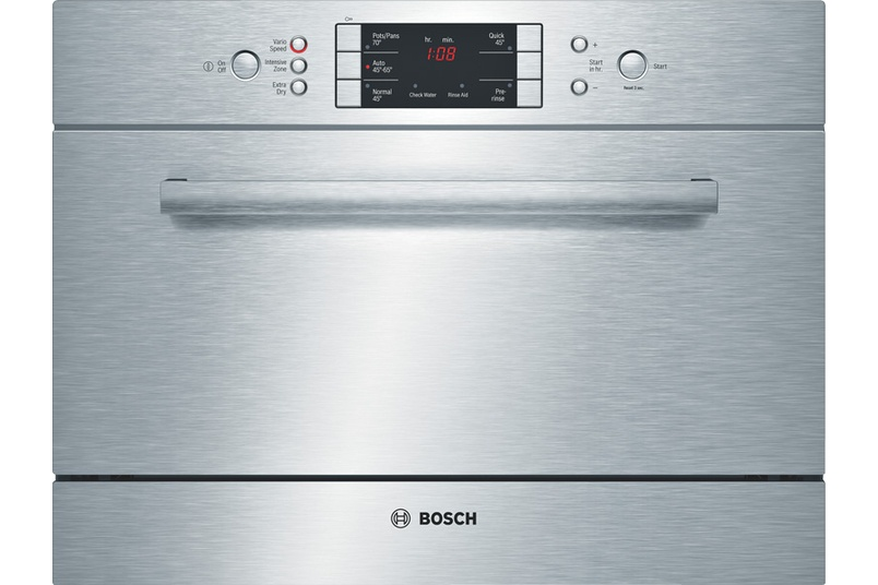 Stainless steel built-under 45cm dishwasher.
