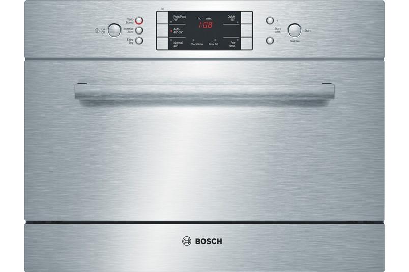 Stainless steel built-under 45cm dishwasher.
