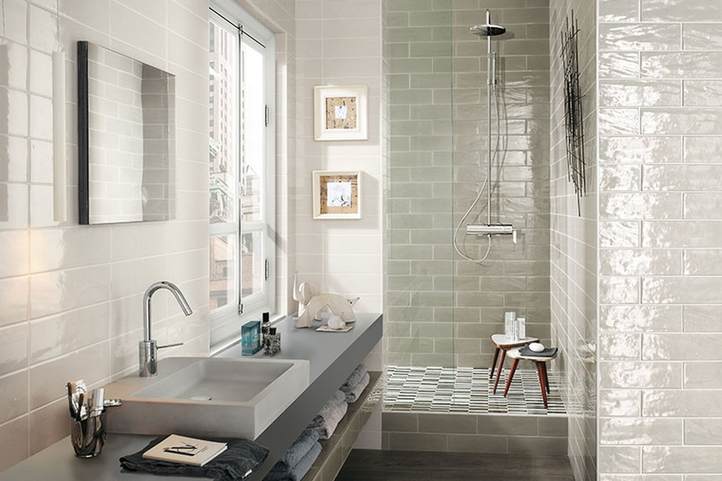 Manhattan pearl and grey bathroom wall tiles