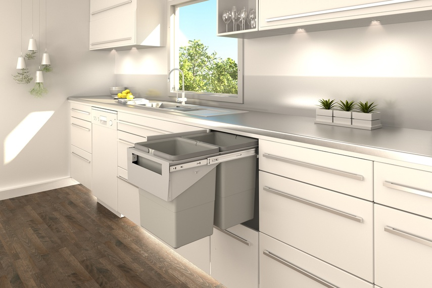 Tanova Simplex pull-out kitchen bin handle type for installation behind hinged door for 350mm cabinet.