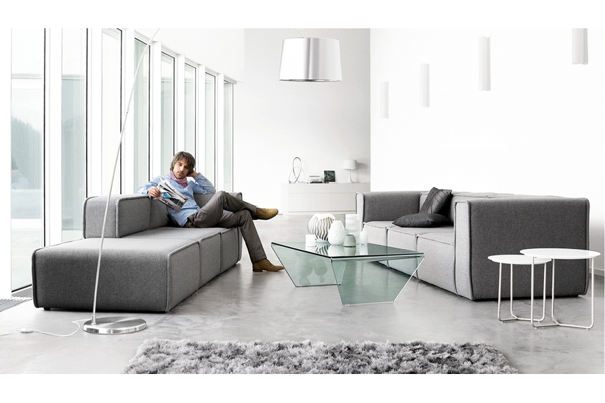 Attirant Carmo Modular Sofa System Shown In Light Grey Felt, Open Ended 3 Seater