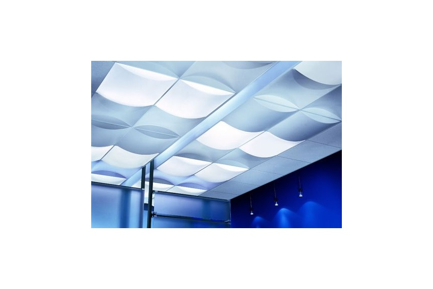 Billo 3-D luminous ceiling punctuate flat ceiling planes, creating a myriad of patterns