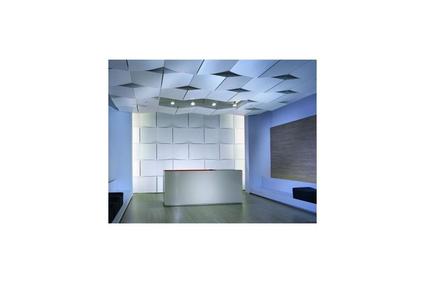 Geometrix 3-D metal ceiling panels lend unique perspective to ceiling spaces