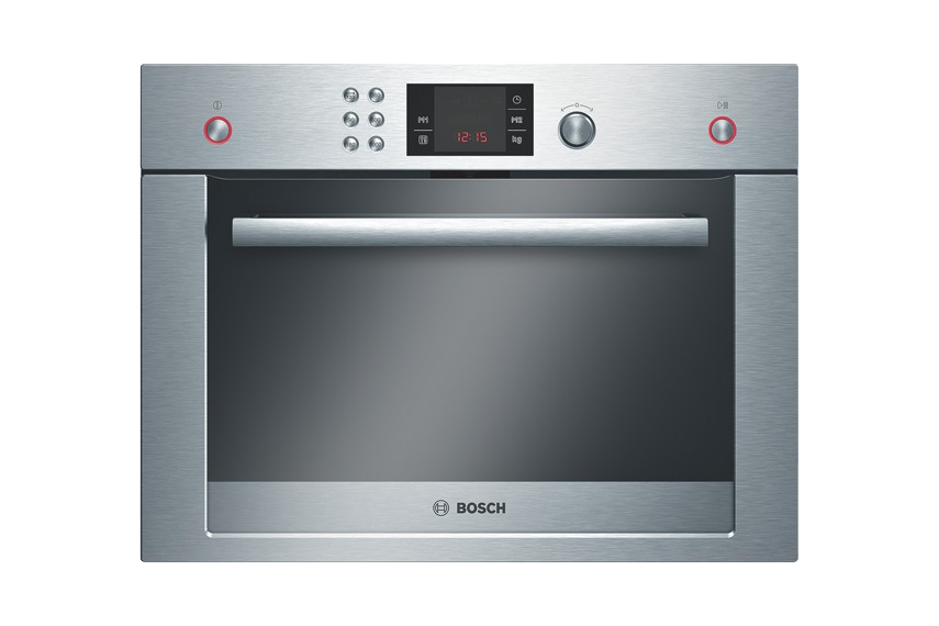 Stainless steel microwave, 36L capacity.