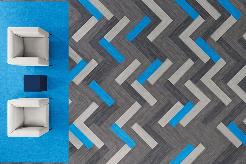 Shaw Contract Group's Color Frame Color Form nylon carpet tiles are available in a range of