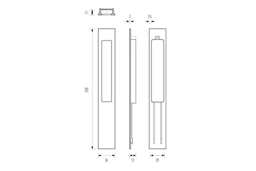Line drawing HB 668 flush pull