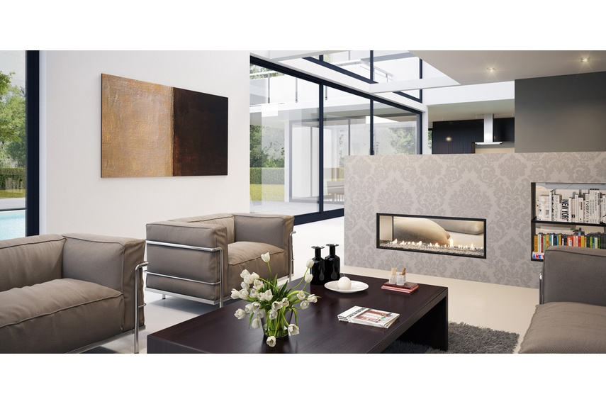 Escea double-sided, frameless DX1000 gas fireplace (Transparent Crystalight fuel bed).