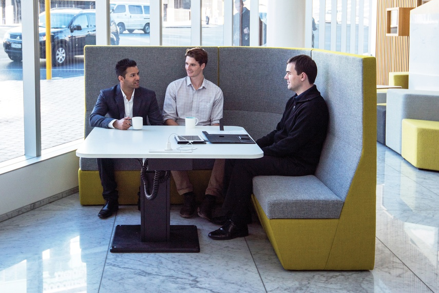 Huddle soft seating with Shift table.