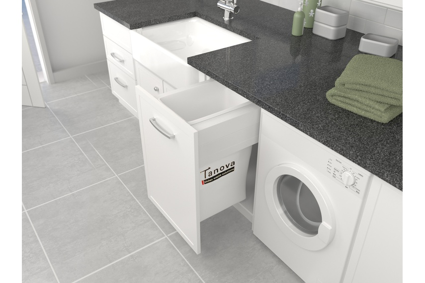 Tanova Deluxe laundry pull-out for 600mm cabinet with fabric bag.