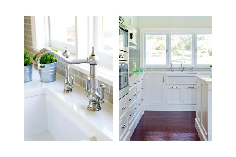 Perrin & Rowe Picardie kitchen tap with matching country filtered water tap in pewter