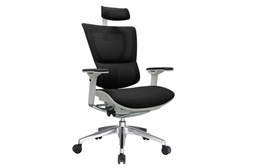 The iOO chair with grey frame and black mesh