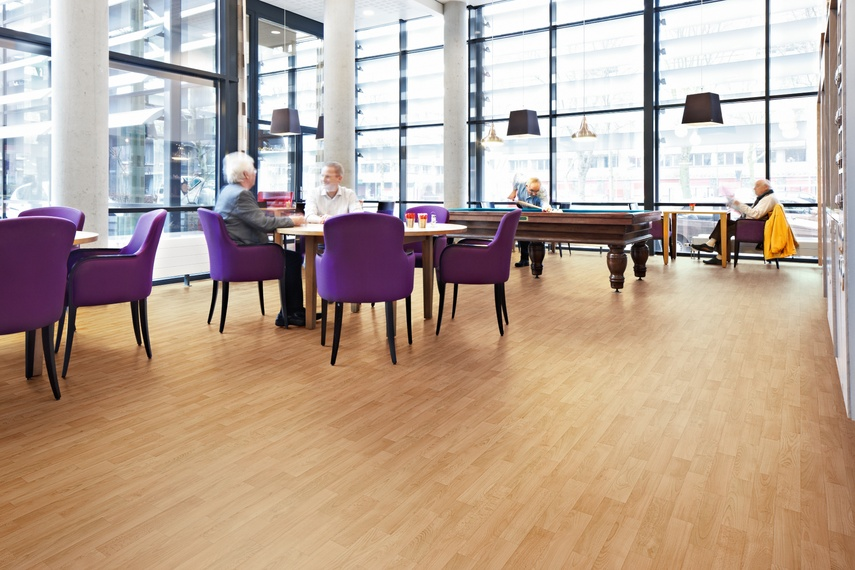 Recreational room that utilises Forbo Sarlon acoustic vinyl flooring.