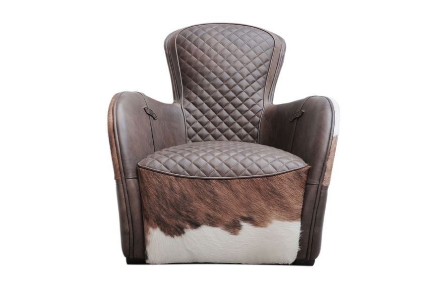 Designed with a fiberglass frame to create a dynamic shape, and upholstered in a range of leathers.