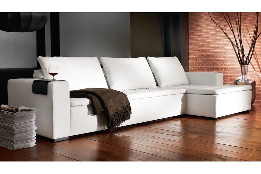 Mezzo modular sofa system shown in white bahia leather