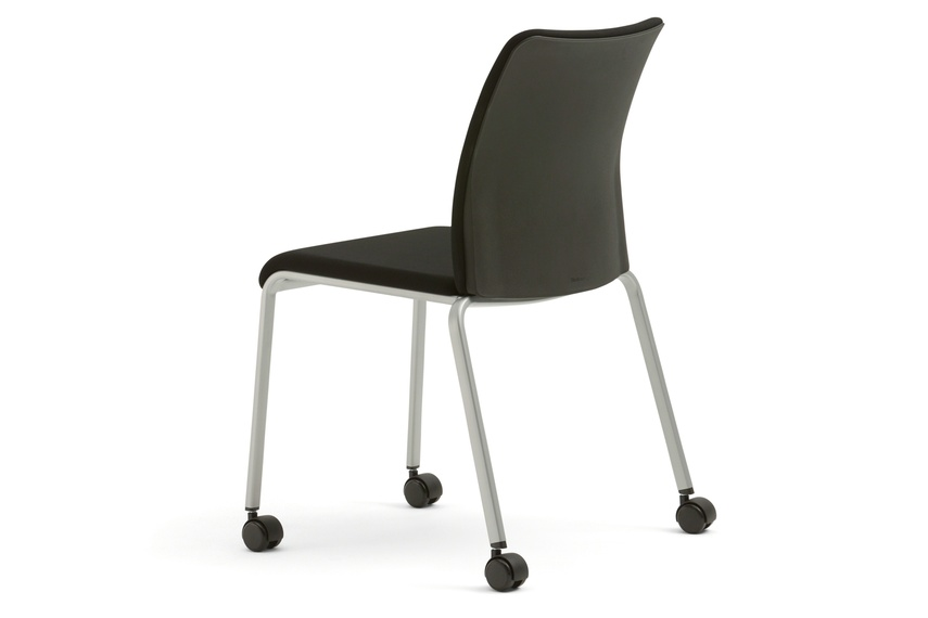 Reply mesh back stackable chair with glides.