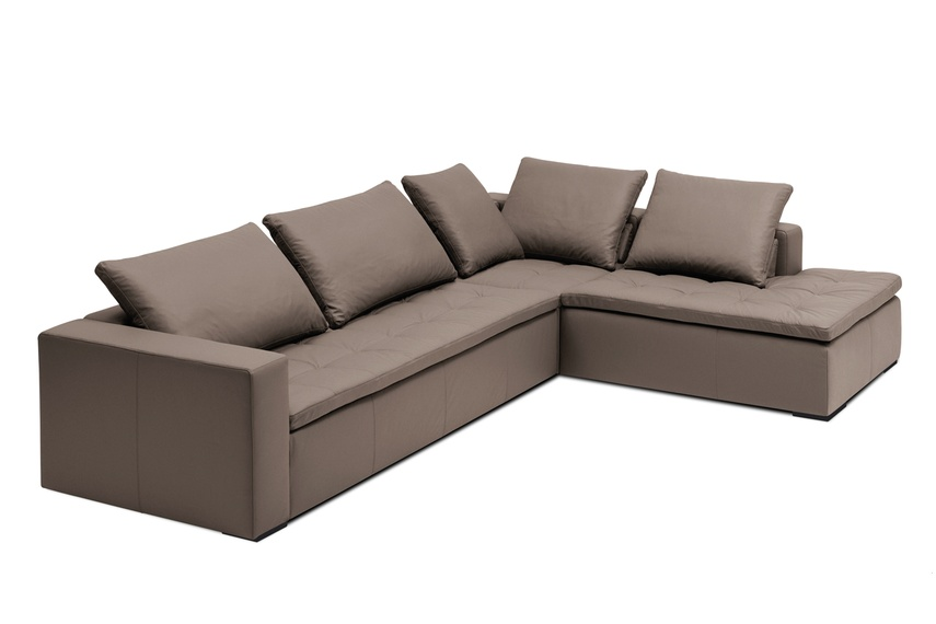 Mezzo modular sofa system shown in stone bahia leather