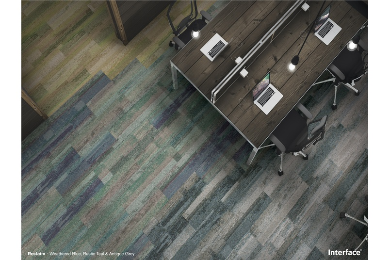 Reclaim in weathered blue, rustic teal and antique grey.