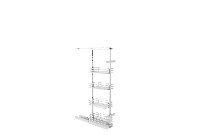 Giamo short pantry unit with wire baskets.