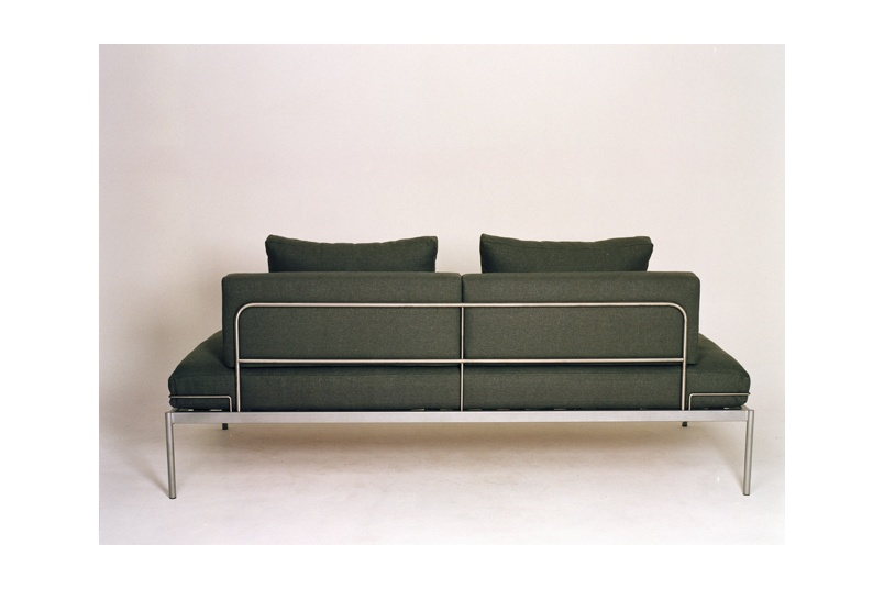 Line One sofa –rear view of silver grey fabric