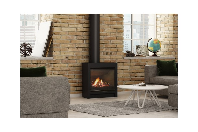 Escea FS730 freestanding gas fireplace (Volcanic Black with Log fuel bed).