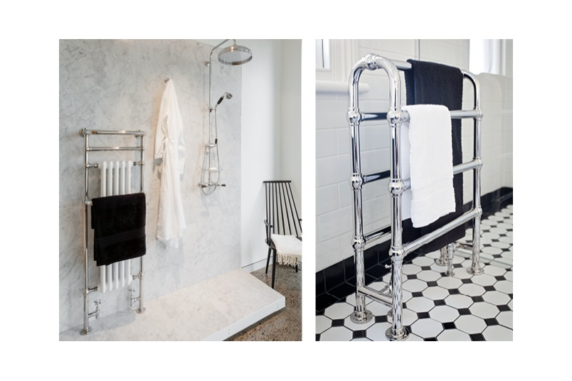 Hawthorn Hill radiator towel warmer (left) and arched towel warmer (right), custom sizes available