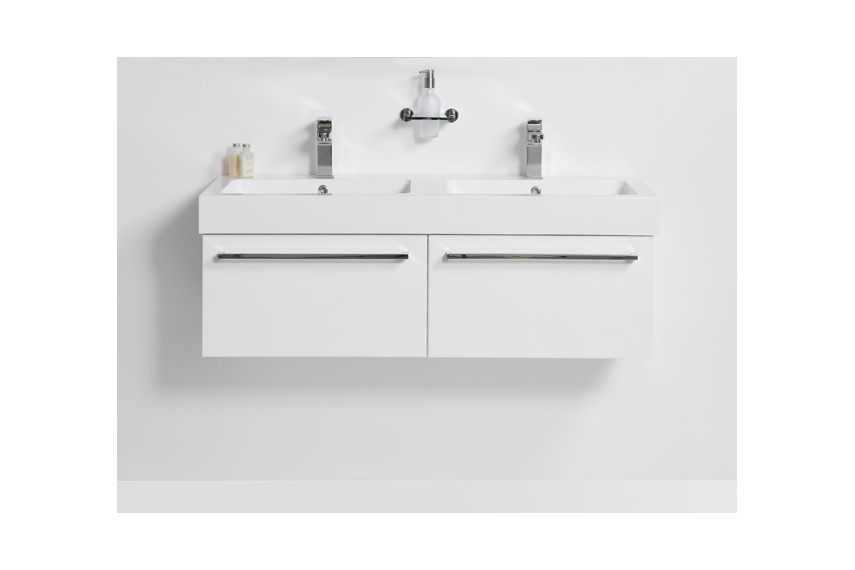 Drawer wall unit 1200 – 2 drawer, side by side, double bowl, polymarble top, soft close drawers