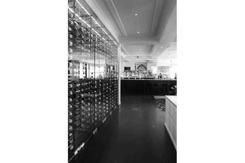 Bespoke wine racks at Harbourside restaurant in Auckland's CBD