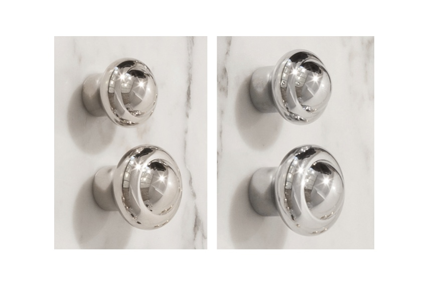 Perrin & Rowe cabinet knobs are available in two sizes – left: nickel, right: chrome