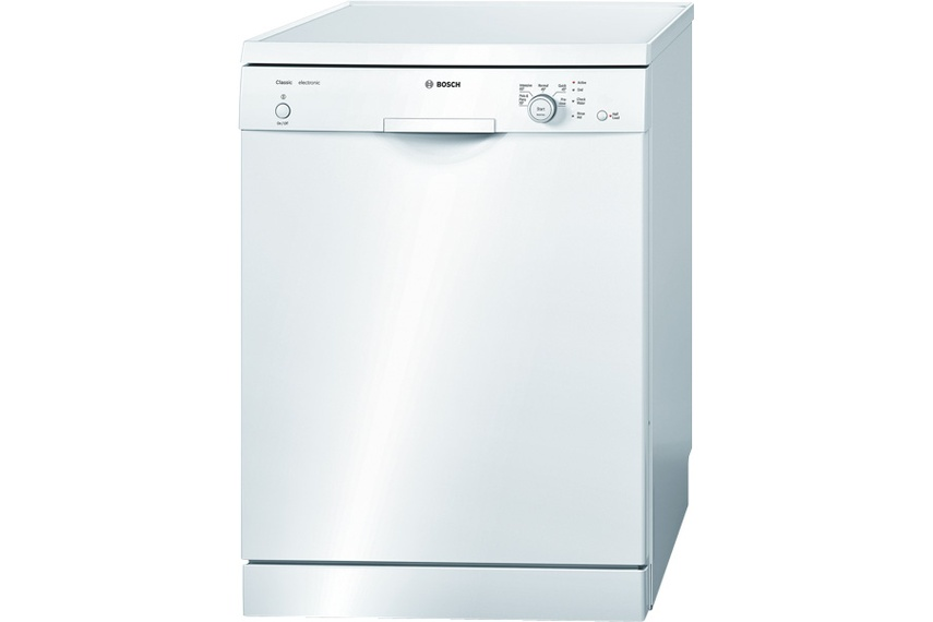 White freestanding dishwasher.