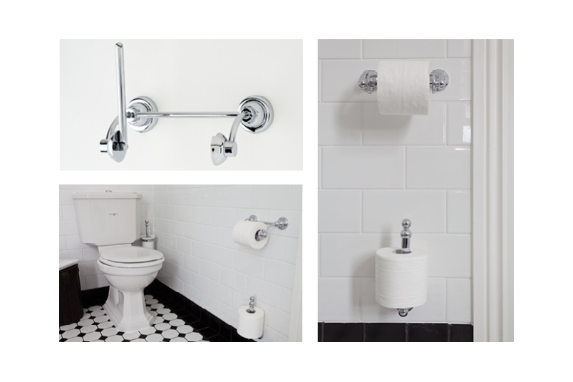 Perrin & Rowe offer a range of toilet roll holders in traditional and contemporary styling