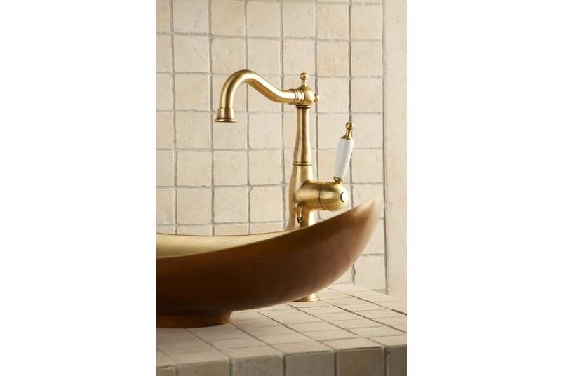 Princess Nouveau extended height basin mixer with side lever.