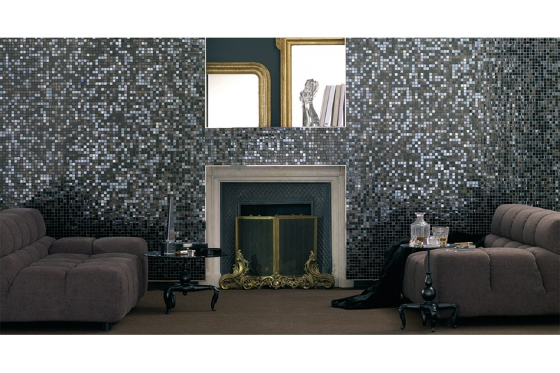 Lounge feature wall using Bisazza's Iside blend