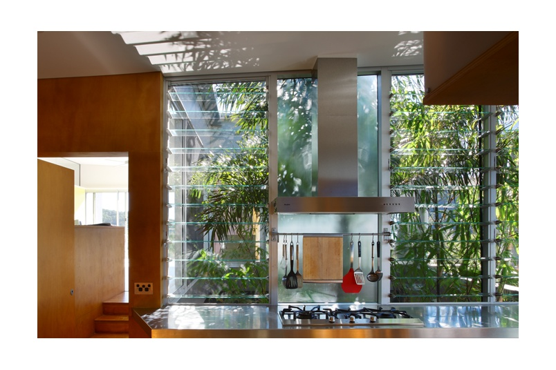 Glass louvres are ideal for controlled light and ventilation