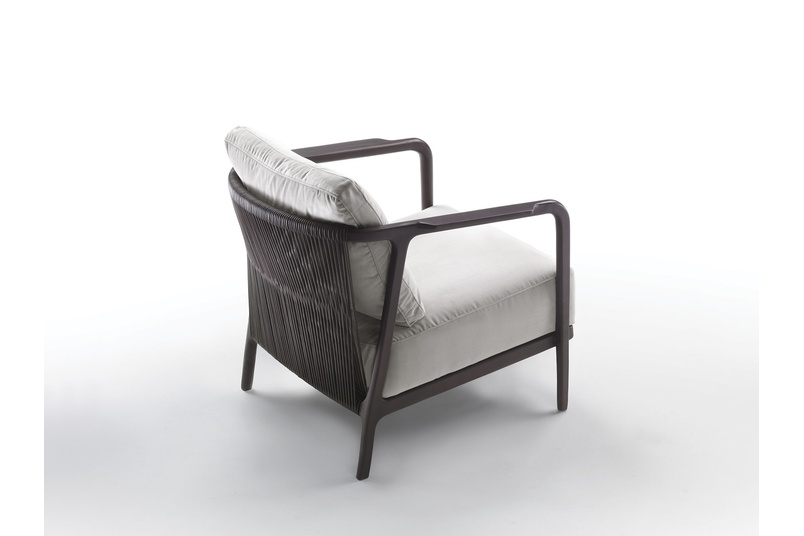 The backrest is a down-filled cushion.