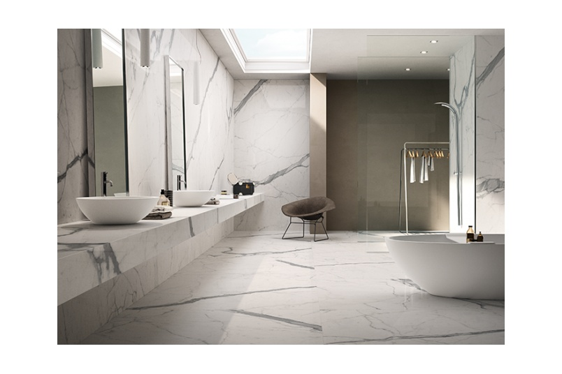 Maximum Statuario floor and wall slabs.